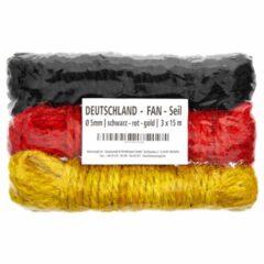 Deutschland FAN Seil | Deko-Seil | schwarz - rot - gold | 3 x 15 m | Fanartikel Public Viewing