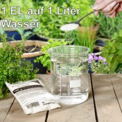 1 Beutel enthält Wasserspeicher-Granulat reicht für ca. 125 Liter Wasserspeicher-Gel.